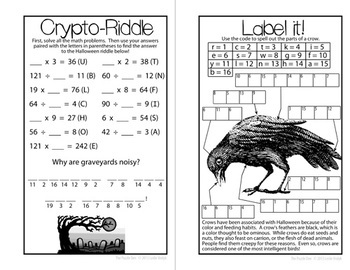 Halloween Puzzles for Fifth Graders Mini Book