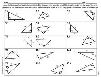 Halloween Pythagorean Theorem - Finding Hypotenuse & Side Length Color By Number