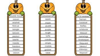 "Halloween ""Quick"" Syllable Lists"