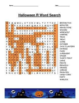 "Halloween ""R"" Word Search"