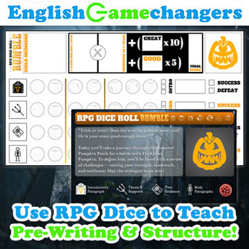 Halloween RPG Dice Roll Rumble: Turn ANY Essay Writing Lesson Plan into a Game!