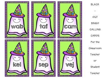 Halloween Nonsense Word Fluency Bingo by Ms. Lendahand