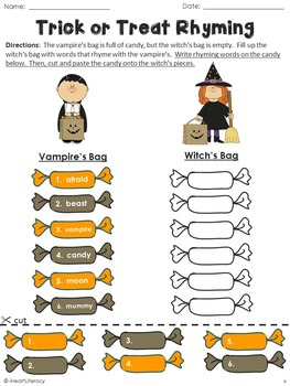Halloween Rhyming Words