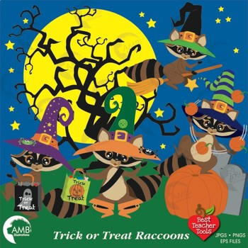 Halloween Clipart, Raccoon Clipart, Trick or Treat Raccoons Clipart, AMB-282