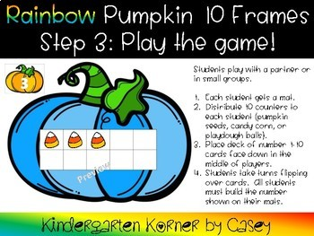Halloween Rainbow Pumpkin Ten Frames Math Center Kindergarten 1st