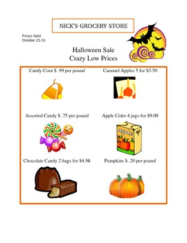 Halloween Rates and Unit Rates