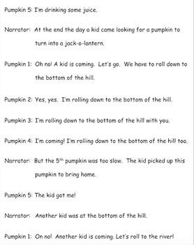 Halloween Readers' Theater for Emergent Readers: Five Pumpkins