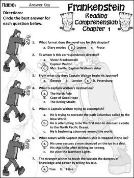 Halloween Reading Activities: Frankenstein Junior Classic Novel Activity Packet
