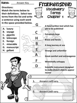 Halloween Reading Activities: Frankenstein Junior Classic Novel Activities - B/W