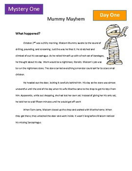 Halloween Reading Activity: 4 Mini Mysteries for Daily Warm Up