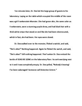 Halloween Reading Activity: Fairy Tale Mystery Case File #11 The Franken Fiasco