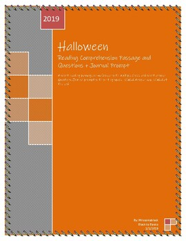 Halloween Reading Comprehenion + Journal