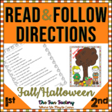 Halloween | Reading Comprehension | Following Directions | Fall