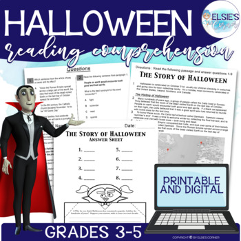 Halloween Reading Passage w/ Comprehension Assessment and Craft.