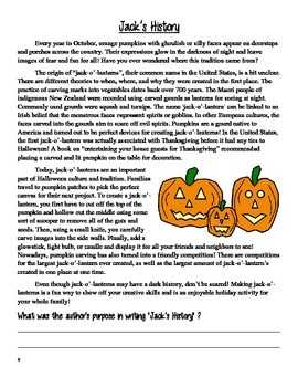 Halloween Reading Comprehension Packet
