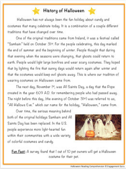 Halloween Reading Comprehension Passages & Questions (for Google Classroom)