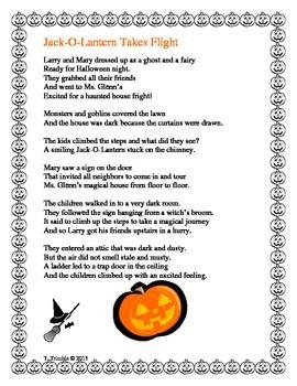 Halloween Rhyming Comprehension Story