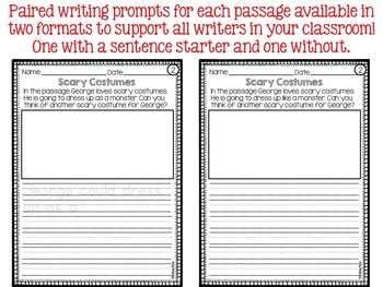 Halloween Reading Comprehension and Writing Prompts