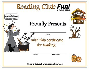 Halloween Reading Log and Certificate