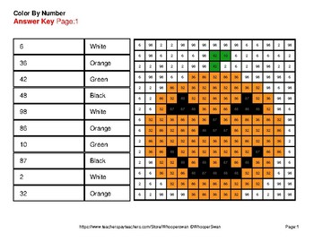 Halloween: Reading Number Words 1-100 - Color By Number - Mystery Pictures