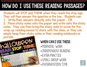 Halloween Reading Passages 1st/2nd Grade ~ Built in Stop and Jot