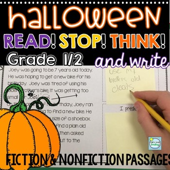 Halloween Reading Passages 2nd Grade 1st Grade Stop Think And Write
