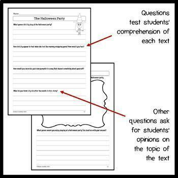Halloween Close Reading Passages - Stories and Writing Activities