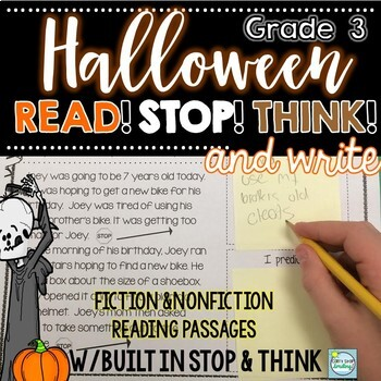 Halloween Reading Passages ~ Read, Stop, Think and JOT ~ Halloween Reading