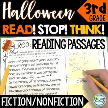 Halloween Passages ~ Stop Think Write ~ Halloween Reading Activities 3rd Grade