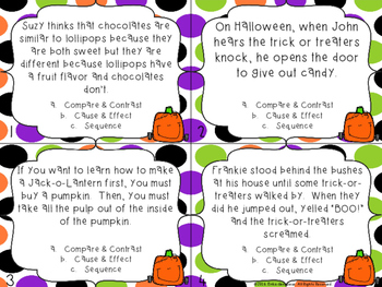 Halloween Task Cards- Compare & Contrast, Cause & Effect, and Sequence