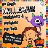Halloween Reading, Writing, Math, Fun Activities & Worksheets- 3rd Grade