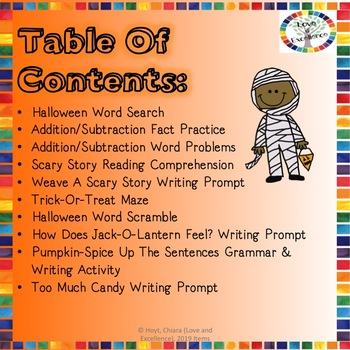 Halloween Reading, Writing, Math, and Fun Activities and Worksheets- 2nd Grade