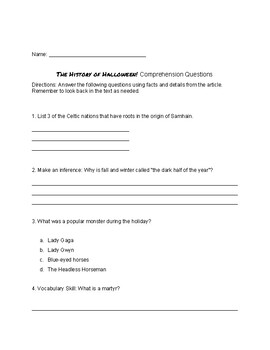 Halloween Reading and Comprehension Activity
