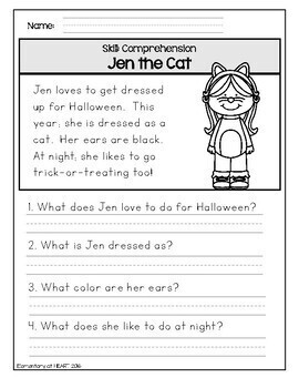 Halloween Reading and Math Worksheets (K-1)