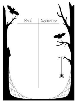 Halloween Real/Nonsense Sort