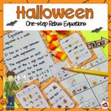 Halloween Rebus One-Step Math Equations