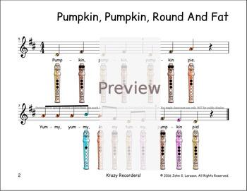Halloween Recorder Songs - Pumpkin Pumpkin Round And Fat - Digital Print