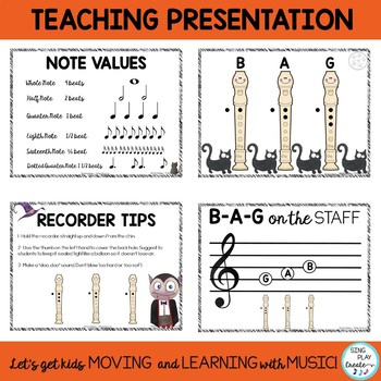 Halloween Recorder Songs: Teaching Pages, Presentation, Notes B-A-G