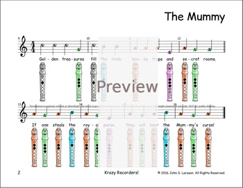 Halloween Recorder Songs - The Mummy - Digital Print