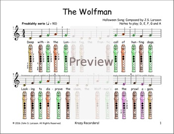 Halloween Recorder Songs - The Wolfman