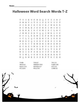 Halloween Related Word Searches from A to Z