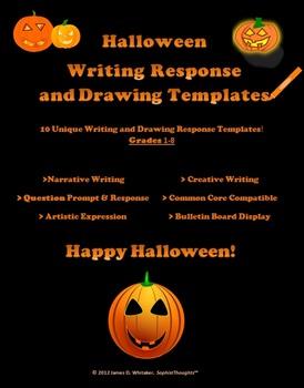 Halloween Reponse Templates Drawing Writing Bulletin Board Stationary