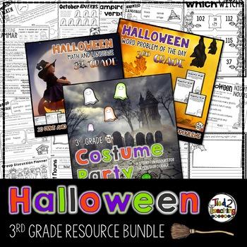Halloween Activities Bundle Games Printables Reading Passages THIRD GRADE