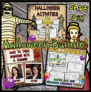 Halloween Activities, Zombie Tutorial and Coloring Pages for Teens - Bundle