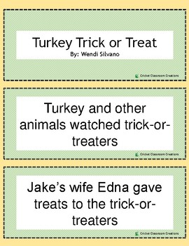 Halloween Retell/Sequence: Turkey Trick or Treat