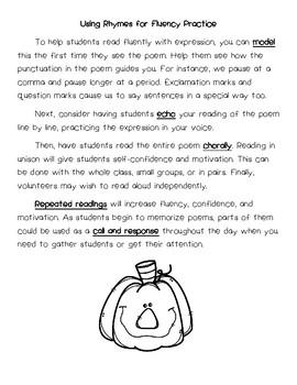 Halloween Rhymes -- Poems Poetry for Fluency