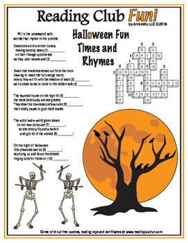Halloween Rhymes in Poems Crossword Puzzle