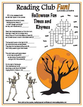 Halloween Rhymes in Poems Crossword Puzzle
