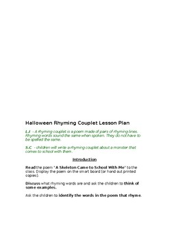 Halloween Rhyming Couplet Lesson Plan