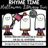 Halloween Literacy Center Activities-Boo To You Rhyming Fun